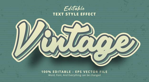 Texto vintage com efeito de texto vintage de cor verde, efeito de texto editável