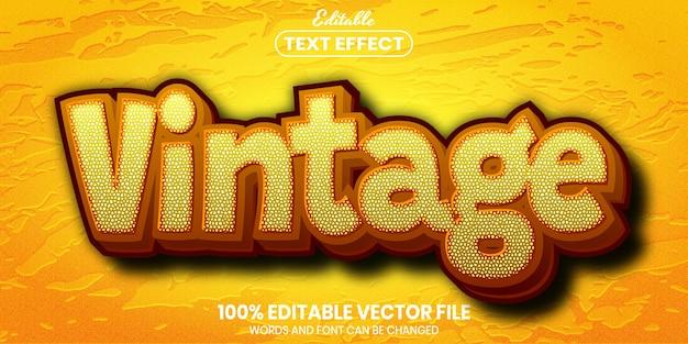 Texto vintage, efeito de texto editável de estilo de fonte