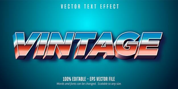 Texto vintage, efeito de texto editável no estilo dos anos 80