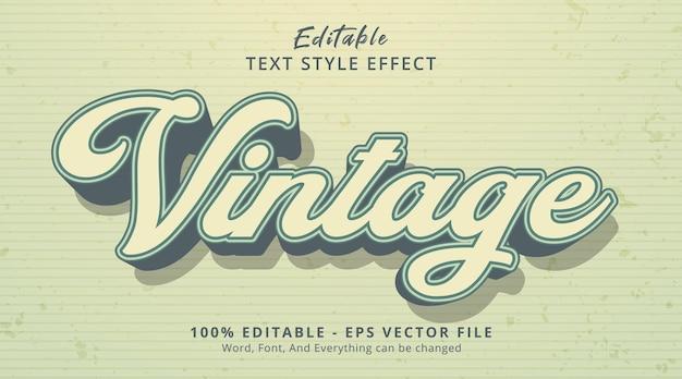 Texto vintage em estilo de cor vintage, efeito de texto editável