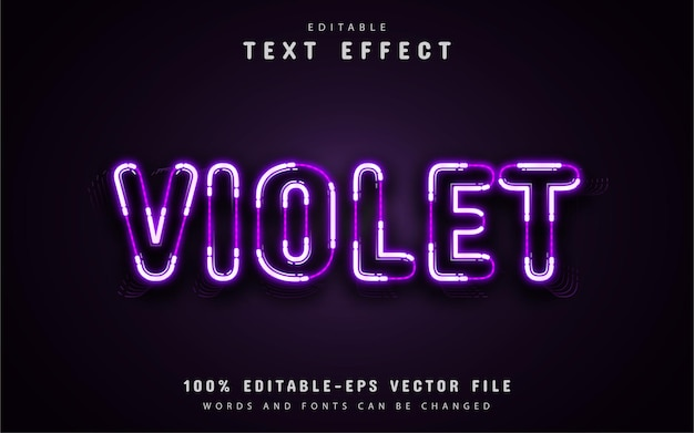 Texto violeta, efeito de texto estilo neon roxo