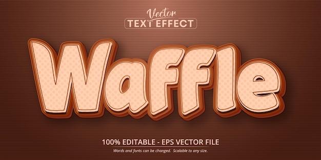 Texto waffle, efeito de texto editável no estilo desenho animado