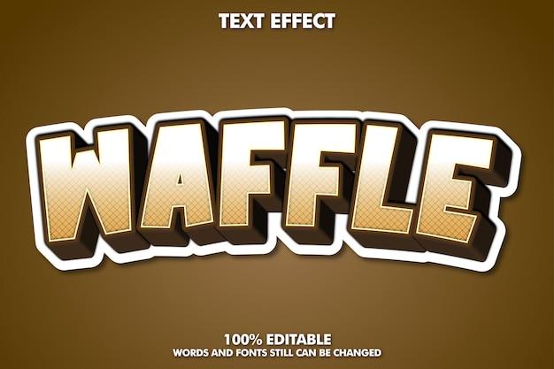 Texto waffle, estilo de texto editável de desenho animado