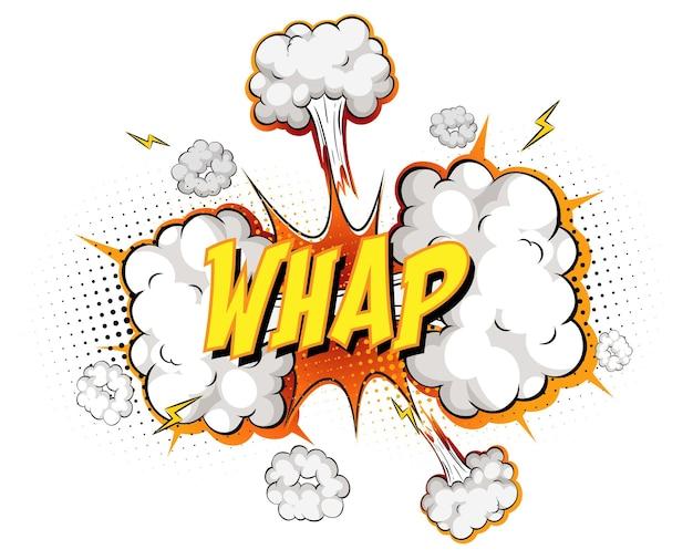 Texto whap sobre explosão de nuvem em quadrinhos isolada no fundo branco