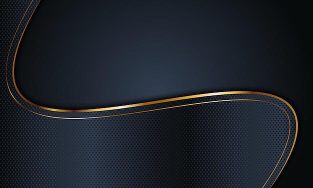 Textura abstrata da marinha escura ondulada com fundo de linhas douradas.