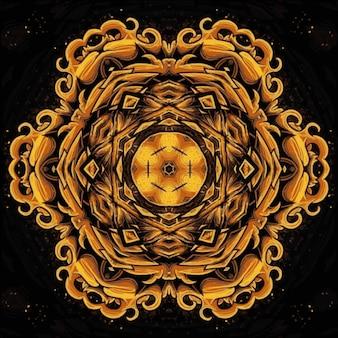 Textura abstrata de ouro multicolorido decorativo. flor brilhante. ilustração caleidoscópica perfeita