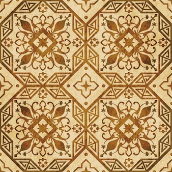 Textura aquarela marrom, padrão sem emenda, geometria do octógono cruz flor videira