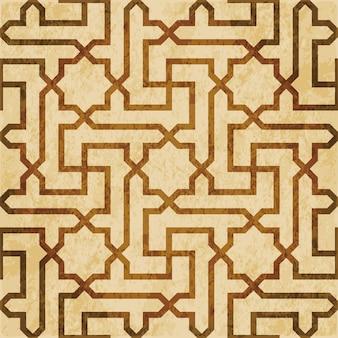 Textura aquarela marrom, padrão sem emenda, moldura de geometria espiral cruzada estrela islâmica