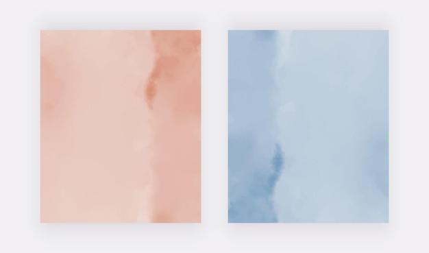 Textura aquarela rosa e azul fundos de desenho vetorial para convites de cartões de banners