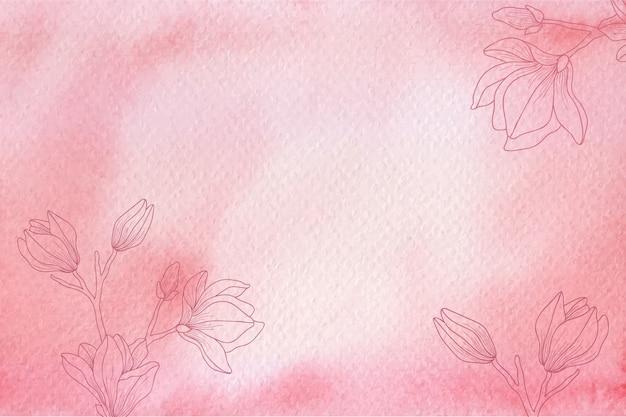 Textura aquarela vermelha com fundo de flores desenhado à mão