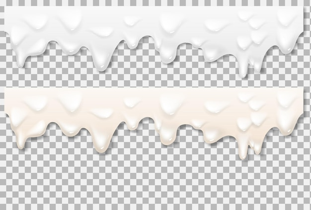 Textura branca de maionese líquida. textura realista de maionese isolada em fundo transparente. fundo de derramamento de creme. malha de gradiente de vetor.