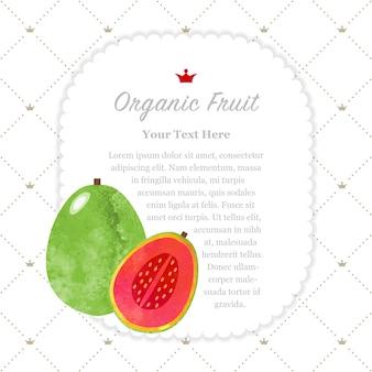 Textura colorida aquarela natureza fruta orgânica memo moldura goiaba vermelha