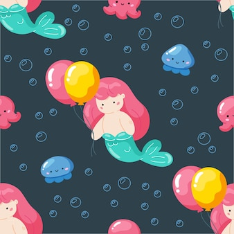 Textura com personagem de desenho animado de sereia e balões.