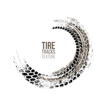 Textura das marcas do pneu isolada no fundo branco