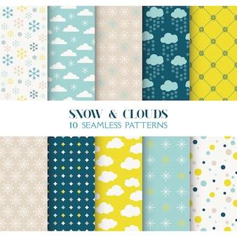 Textura de 10 padrões sem emenda de neve e nuvens para papel de parede