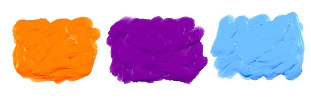 Textura de aquarela acrílica azul, roxa e laranja espessa