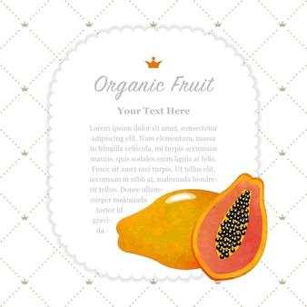 Textura de aquarela colorida natureza fruta orgânica memo moldura mamão