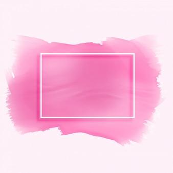 Textura de aquarela rosa mancha com moldura vazia