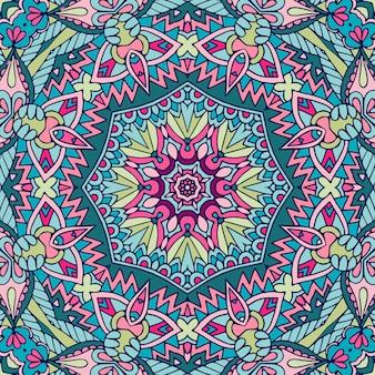 Textura de arte de mandala de padrão sem emenda para tecido