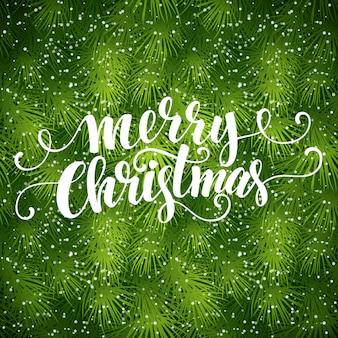 Textura de árvore do abeto de natal com saudações, letras, cartão de felicitações
