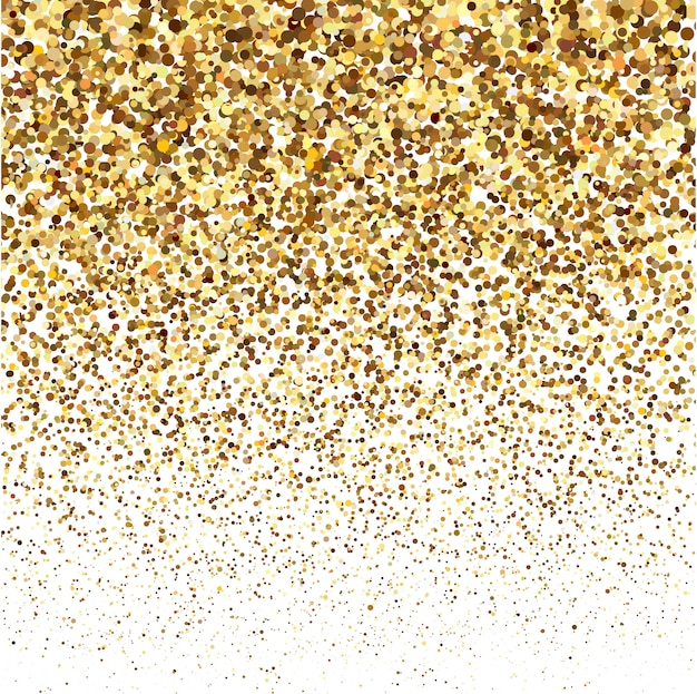 Textura de brilho de glitter dourados sobre um fundo branco