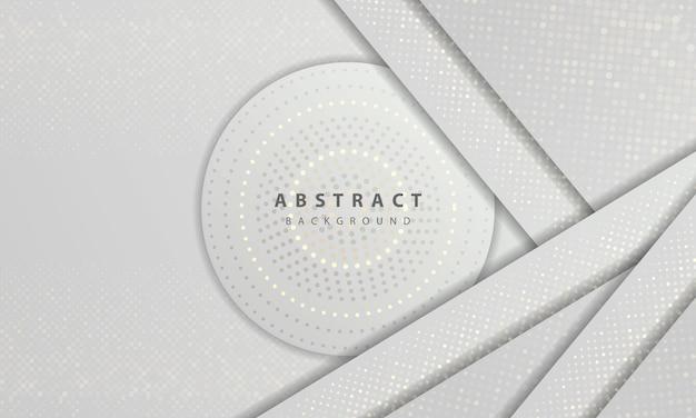 Textura de conceito luxuoso e moderno com decoração de elemento de pontos de brilhos de prata. fundo abstrato branco com camadas de sobreposição de formas de papel.