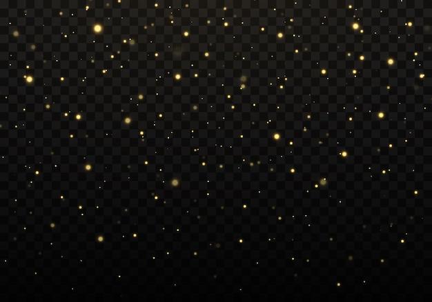 Textura de confete dourado e glitter em um fundo preto
