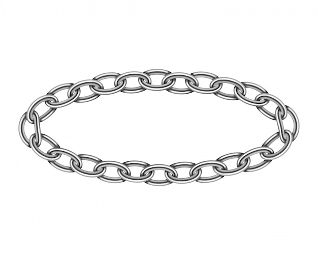 Textura de corrente de quadro de círculo de metal realista. cor prata redondo link de correntes isolado no branco