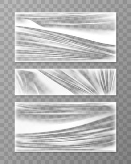 Textura de crumpl dobrada de celofane esticada