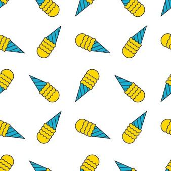 Textura de doodle padrão sem emenda de sorvete com fundo de sobremesa doce preto e branco