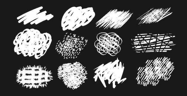 Textura de giz branco abstrato conjunto de manchas de rabisco ilustração em vetor isolada
