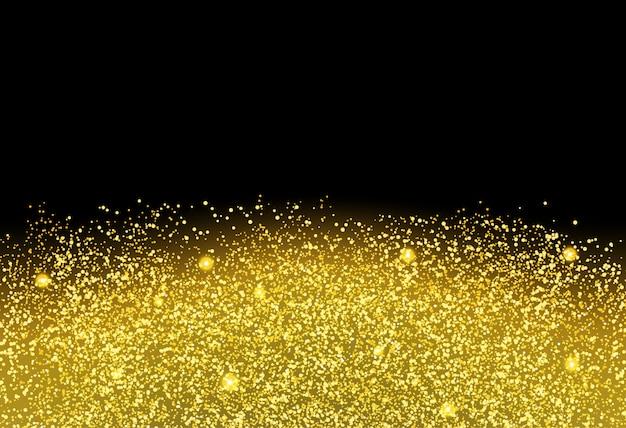 Textura de glitter dourado em fundo preto