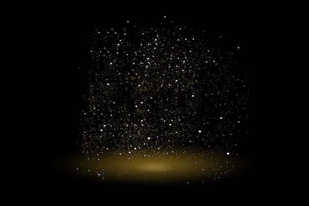Textura de glitter dourados em um fundo preto. explosão dourada de confete. textura abstrata granulada dourada em um fundo preto.