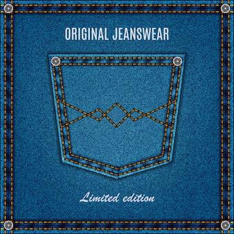 Textura de jeans com bolso cor azul. fundo de calça jeans para seu projeto