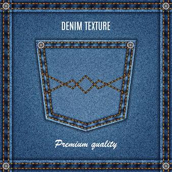Textura de jeans de cor de fundo azul jeans com bolso para seu projeto