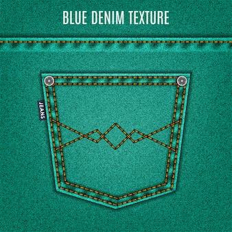 Textura de jeans turquesa com bolso, fundo de jeans