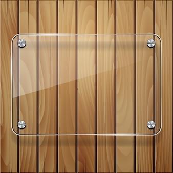 Textura de madeira com estrutura de vidro.