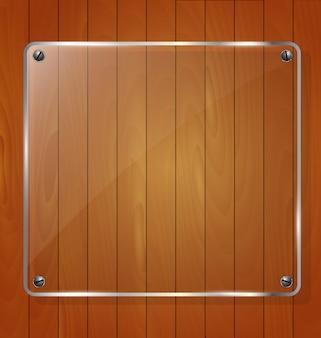 Textura de madeira com fundo de vidro da estrutura. ilustração vetorial