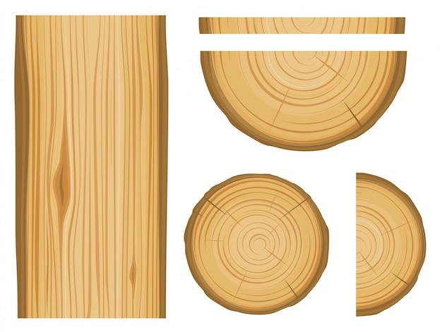 Textura de madeira e elementos isolados no fundo branco