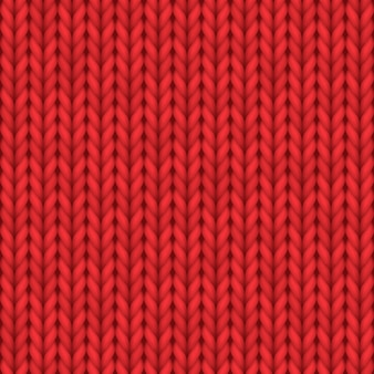 Textura de malha realista, padrão de malha sem costura ou ornamento de malha de lã vermelha