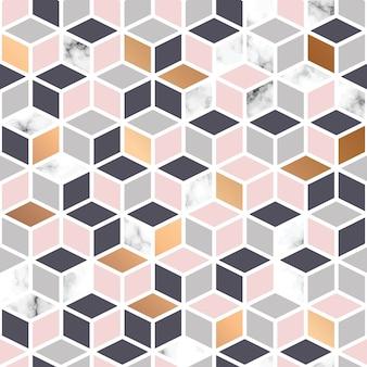 Textura de mármore, design de padrão com padrão geométrico cubo, marblin preto e branco