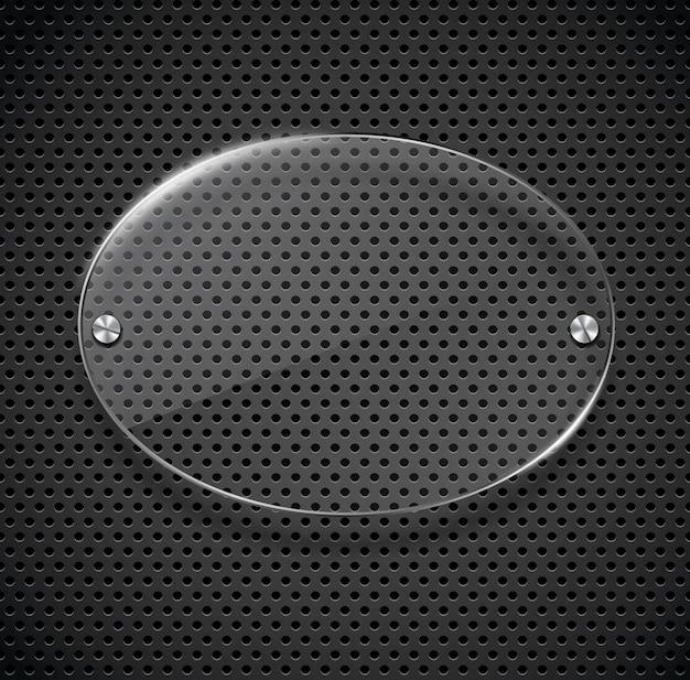 Textura de metal com placa de vidro.