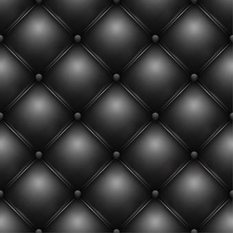 Textura de padrão de estofamento de couro preto com botões