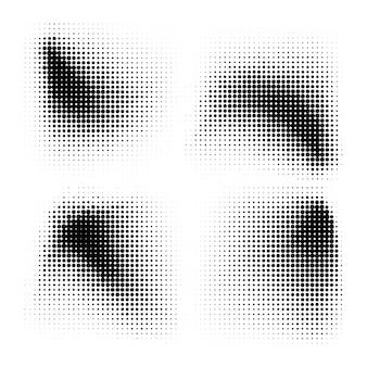Textura de padrão de pontos de meio-tom de círculos de meio-tom definida em fundo branco