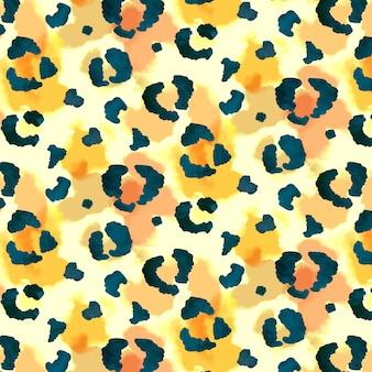 Textura de padrão sem costura aquarela com estampa animal