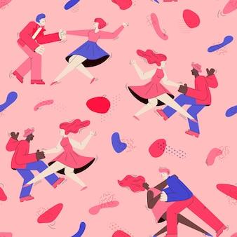 Textura de padrão uniforme com desenho animado de pessoas dançando