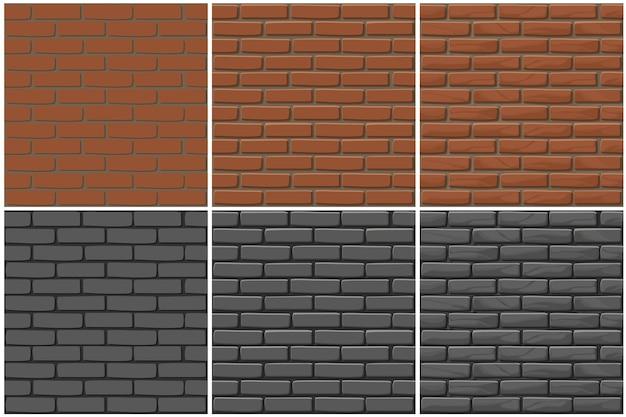 Textura de parede de tijolo sem costura, desenho de 3 etapas. parede de pedras de ilustração. padrão uniforme