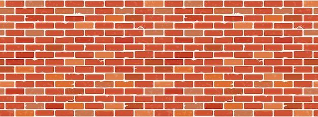 Textura de parede de tijolo sem costura grunge. fundo realista da parede de tijolo vermelho.