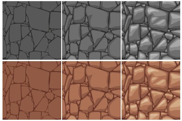 Textura de pedra sem costura, desenho de 3 etapas. fundo de pedras marrom e cinza. textura sem costura dos desenhos animados.