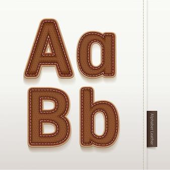 Textura de pele de couro de alfabeto.